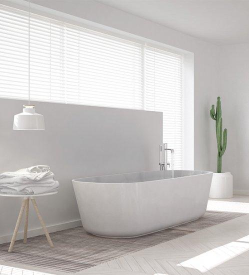 Aluminium jaloezieën voor in de badkamer worden gemaakt van vochtbestendig materiaal