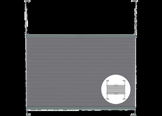 Ingespannen plisségordijnen met bedieningsgreep