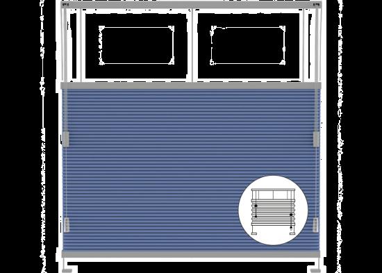 Ingespannen plisségordijnen met bedieningskoord